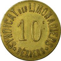 Monnaie, France, Syndicat Des Limonadiers, Béziers, 10 Centimes, TTB+, Laiton - Monétaires / De Nécessité