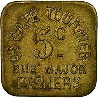 Monnaie, France, Gd. Café TOURNIER, Pamiers, 5 Centimes, TTB, Laiton, Elie:20.1 - Monétaires / De Nécessité