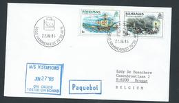 Norway 1985 Paquebot Cover To Belgium Ship Vistafjord Bahamas Adhesives - Norway