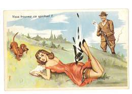 CPA ILLUSTRATEUR LOUIS CARRIERE PIN-UP SEXY HUMOUR THEME CHASSE CHIEN PIE - Carrière, Louis