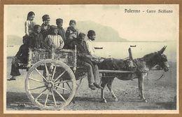 Italy Palermo Carro Siciliano, Donkey Carriage, Natives - Italy