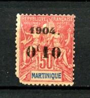 MARTINIQUE -  56 - 10c Sur 50c Rose - Neuf N* - Défectueux - Nuovi