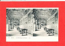 VATICAN ROME ROMA Cpa Stéréoscopique La Bibliotheque Du  Vatican    11    LL - Vatican