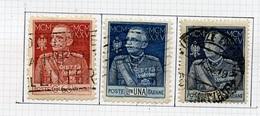 Italie - Italy - Italien 1925-26 Y&T N°175A à 177A - Michel N°222 à 224 (o) - Victor Emmanuel III - Oblitérés