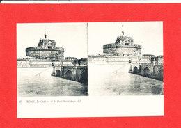 ROME ROMA Cpa Stéréoscopique Chaterau Et Pont Saint Ange   17 LL - Ponts