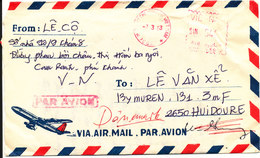 Vietnam Air Mail Cover With Meter Cancel Sent To Denmark 7-3-1983 - Vietnam