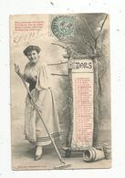 Cp, Jardin ,femme, ,ed. Bergeret , Voyagée 1905 ,LE MOIS DE MARS ,préparez Votre Jardin - Mujeres