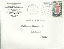 YT 366 = Grande Mosquée De Tlemcem - Lettre De Batna Pour La France - Devant D'enveloppe - Algérie (1962-...)