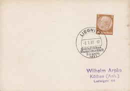 Germany Deutsches Reich Sonderstempel 'Schlesisches Mannschiessfest' LIEGNITZ (Niederschlessien, Poland) 1937 Card Karte - Briefe U. Dokumente