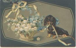 Carte Gaufrée, Chien Teckel Avec Fleurs, Muguet, A Circulé En 1909 (?) Printed In Germany N° 2252/3, Dos Divisé, TBE - Chiens
