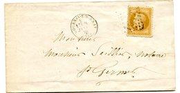 SEINE MARITIME De GOURNAY EN BRAY LSC Du 8/01/1870 Avec N°28 Oblitéré GC 1682 - Postmark Collection (Covers)