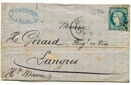HAUTE SAONE De GRAY LAC Du 14/06/1871 Avec N°37 Oblitéré GC 1712 - Postmark Collection (Covers)