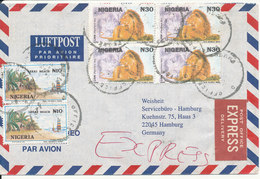 Nigeria Express Air Mail Cover Sent To Germany 1997 - Nigeria (1961-...)