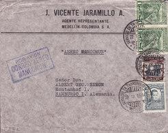 Colombia J. VICENTE JARAMILLO Boxed Cds. Por Avion Correo Aereo MANCOMUN 1934 Cover Letra HAMBURG Germany - Kolumbien