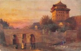¤¤  -    CHINE   -  Illustrateur   -  PEKING  -  Porte De La Ville  -  Reproduction De Tableau    -  ¤¤ - China