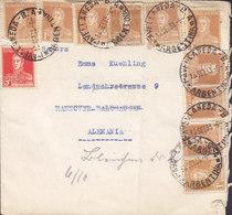 Argentina AVELLANEDA 1933 Cover Letra 1933 Mult. Franked Cover Letra HANNOVER Germany 11x San Martin Stamps (2 Scans) - Argentinien
