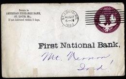 A6132) US Ganzsachenumschlag Columbus 2 Cents Vordruck First National Bank St. Louis 12.08.93 - 1847-99 Unionsausgaben