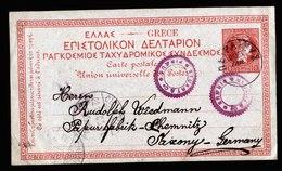 A6134) Griechenland Greece Karte 1896 N. Chemnitz / Germany - 1886-1901 Hermes, Klein