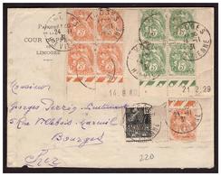 Bloc De 4 Coin Daté N°109 +1 Coin Daté N° 111 +n) 270 Sur Lettre De LIMOGES Pour BOURGES Du 24.11.31 - Storia Postale