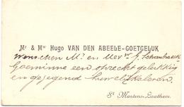 Visitekaartje - Carte Visite - Mr & Mw Hugo Van Den Abeele - Goetgeluk - St Martens Latem - Cartes De Visite