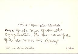 Visitekaartje - Carte Visite - Mr & Mme Lips - Goethals - Eeklo - Cartes De Visite
