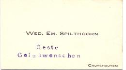 Visitekaartje - Carte Visite - Wed. Em. Spilthoorn - Kruishoutem - Cartes De Visite