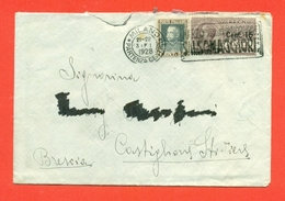 POSTA PNEUMATICA- LETTERA  DA MILANO PER CASTIGLIONE DELLE STIVIERE-CENT. 15 SU 20 CENT- 3/1/1928 - 1900-44 Vittorio Emanuele III
