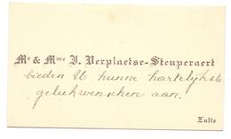 Visitekaartje - Carte Visite - Mr & Mme Verplaetse - Steuperaert - Zulte - Cartes De Visite