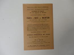 Tarif Des Chemins De Fer Paris à Lyon Et à La Méditerranée. Régates Vacances De Pâques Paris-Nice-Menton. - Reiseprospekte