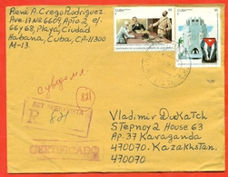 Cuba 1995. Flag.The 100th Anniversary Of The Death Of Jose Marti. Registered Envelope Is Really Past Mail. - Cuba