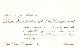 Visitekaartje - Carte Visite - Mr & Mme Louis Vanderdonckt - Van Cromphout - Lessines - Cartes De Visite