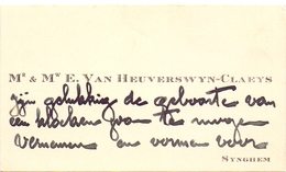 Visitekaartje - Carte Visite - Mr & Mme E. Van Heuverswyn - Claeys - Synghem -  Zingem - Cartes De Visite