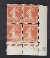 Semeuse 25 C. Brun 235 En Bloc De 4 Coin Daté - 1906-38 Säerin, Untergrund Glatt