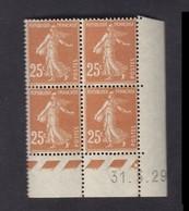 Semeuse 25 C. Brun 235 En Bloc De 4 Coin Daté - 1906-38 Semeuse Camée