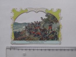 CHROMO DECOUPIS Chocolat PAYRAUD Grand Format: Bataille SPICHEREN 1870 KANINCHEN BERG - Militaire - GERMAIN Illustrateur - Découpis