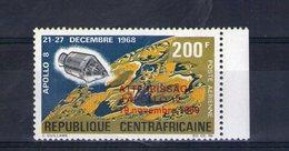 Centrafrique. Poste Aérienne. Vol Circumlunaire D'apollo VIII - Centrafricaine (République)