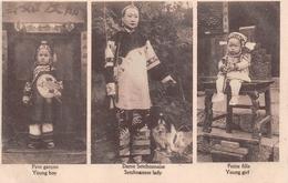 ¤¤   -   CHINE  -  3 Vues -  Petit Garçon  -  Dame Setchoanaise  -  Petite Fille   -  ¤¤ - China