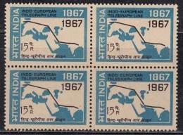 Block Of 4, MNH India, 1967 Indo European Telegraph Service, Telecom . Map - Blocks & Kleinbögen