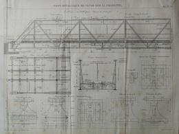 ANNALES DES PONTS Et CHAUSSEES (Dep 16) -  Plan Du Pont Métallique De 70m Sur La Charente- Macquet - 1891 (CLD85) - Travaux Publics