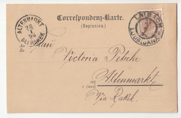 Austria Slovenia Postal Stationery Postcard Dopisnica Travelled 1896 Ljubljana To Stari Trg (Altenmarkt Bei Rakek) - Slovenia