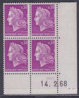 France N° 1536 XX Marianne De Cheffer : 30 C. Lilas En Bloc De 4 Coin Daté Du  14 . 2 . 68, 2 Traits, Sans Charnière, TB - Coins Datés