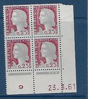 """FR Coins Datés YT 1263 """" Marianne De Decaris """" Neuf** Du 23.3.61 - Coins Datés"""