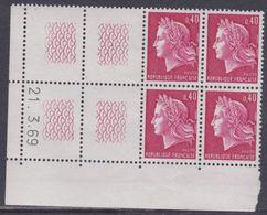 France N° 1536B XX Ma. Cheffer : 40 C. Rouge En Bloc De 4 Coin Daté à Gauche Du 21. 3 . 69, 2 Traits, Sans Charnière, TB - Coins Datés