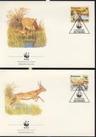 WWF  4 FDC 1988 BOTSWANA ANTILOPPES  YVERT N°579/82 - FDC