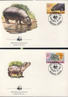 WWF  4 FDC 1984 LIBERIA HIPPOPOTAMES  YVERT N°1001/04 - FDC