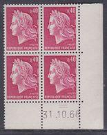 France N° 1536B XX Ma. Cheffer : 40 C. Rouge Ca. En Bloc De 4 Coin Daté Du  31 . 10 . 68,  2 Traits, Sans Charnière, TB - Coins Datés