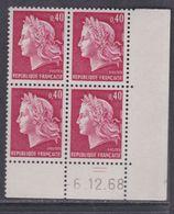 France N° 1536B XX Ma. Cheffer : 40 C. Rouge Ca. En Bloc De 4 Coin Daté Du  6 . 12 . 68,  2 Traits, Sans Charnière, TB - Coins Datés