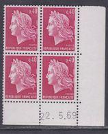 France N° 1536B XX Ma. Cheffer : 40 C. Rouge Ca. En Bloc De 4 Coin Daté Du  22 . 5 . 69, Sans Trait, Sans Charnière, TB - Coins Datés