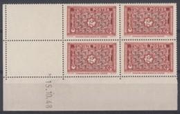 N° 318 B En Bloc De 4 Coin Daté 15/10/48 - X X - ( C 229 ) - Neufs