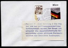 A6136) Bund Postkrieg Brief Alzenau 12.11.85 N. CSSR Mit Hinweiszettel + Retour - Briefe U. Dokumente